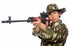 picture of sniper  - Woman with sniper weapong isolated on white - JPG