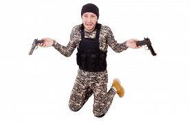 stock photo of handgun  - Caucasian soldier with handgun isolated on white - JPG