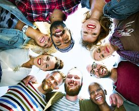 image of huddle  - Diverse People Circle Huddle Looking Down Concept - JPG