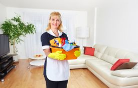stock photo of maids  - Maid woman with tools - JPG