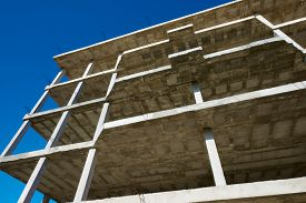 picture of slab  - Reinforced concrete slabs of a residential building under construction - JPG