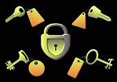 Las llaves y el bloqueo sobre un fondo negro
