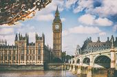 London Europe travel destination. Autumn scenery of Big Ben and Houses of parliament with Westminste poster