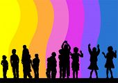Vector drawing child in rainbow. Silhouette of people