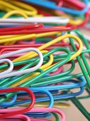 Color photo paper clips. With colored objects