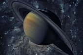 Solar System - Saturn. It Is The Sixth Planet From The Sun. poster