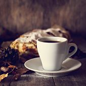 Постер, плакат: A Cup Of Coffee With Espresso Pie And Autumn Leaves Autumn
