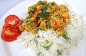 rice and curry dish with tomatoes and dill as garnish