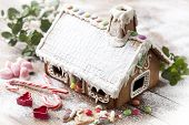 picture of gingerbread house  - closeup of christmas sweets - JPG