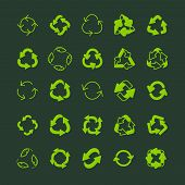 Recycling Ecology Thin Line Vector Icon Set. poster