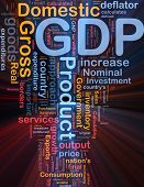 Background concept wordcloud illustration of GDP domestic economy glowing light