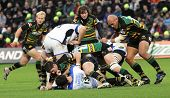 NORTHAMPTON, UK - DEC 06: Saints and Bath battle during their Premiership rugby match December 06, 2