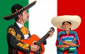 Mexican mariachi charro man and poncho girl Mexico flag background