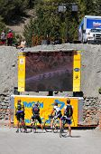 MT. BALDY, CA - MAY 21: Cyclists stop to watch the 7th Stage of the Amgen Tour of California on May