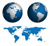 Globe and Map of the World.  Map was manually traced in illustrator from public domain world map.  N
