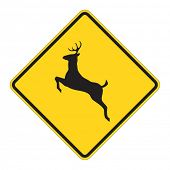 Deer traffic warning on white