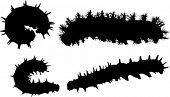 Ilustración con la colección de siluetas de caterpillar aislado sobre fondo blanco
