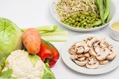Sauteed Vegetables With Chicken, Pork, Jam And Shrimps Preparation: Raw Ingredients To Prepare Saute poster