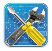 stock photo of xxl  - Vector wrench and screwdriver on blueprint XXL square icon - JPG