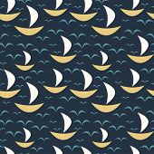 Seamless pattern with boats