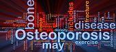 Konzept Wordcloud Hintergrund Ohrenrauschen Knochen Krankheit glühende Licht