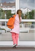 stock photo of school building  - girl entering the school building - JPG