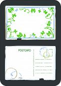 Vintage green floral swirls and butterfly postcard front and back with space for text