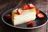 Homemade Cheesecake With Fresh Strawberries And Mint For Dessert - Healthy Organic Summer Dessert Pi poster