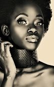 image of nose ring  - beautiful south African woman with bronze necklace - JPG
