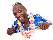 Portrait of happy funny guy with Hawaiian shirt