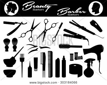 poster of Beauty Salon And  Barber Salon. Set Hairdressing Related Symbols. Hairdressing Equipment And Accesso