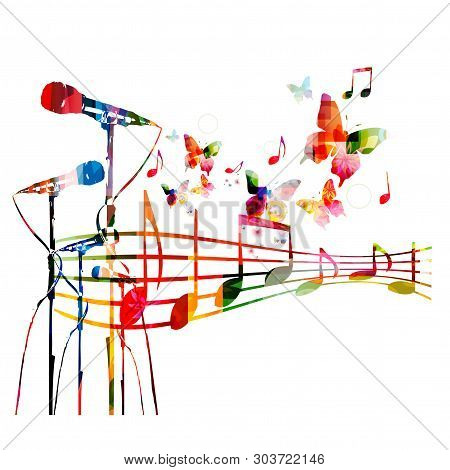 poster of Colorful Microphones With Music Notes Isolated Vector Illustration Design. Music Background. Karaoke