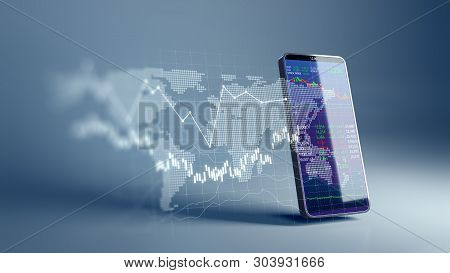 poster of Financial Graph And Technology Element On Mobile Phone 3D Rendering