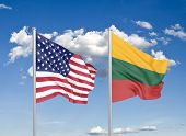 United States Of America Vs Lithuania. Thick Colored Silky Flags Of America And Lithuania. 3d Illust poster
