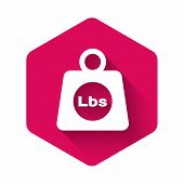White Weight Pounds Icon Isolated With Long Shadow. Pounds Weight Block For Weight Lifting And Scale poster