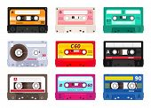 Retro Cassettes. Vintage 1980s Music Tape, Dj Rave Party Mix, Realistic Stereo Record Set. Vector Ol poster