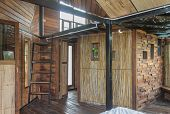 Interior Design Room In Country Style With Bamboo And Wood. Interior Design Room Include Stair And W poster