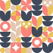 Abstract Scandinavian Flower Background. Vector Seamless Pattern. Modern Geometric Illustration In R poster