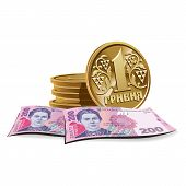 Hryvnia banknotes and coins vector illustration, financial theme