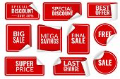 Red Stickers Curled. Wrapped Paper Sticker Set, Price Labels Sale Banners Bent Edge Corner Sheets. A poster