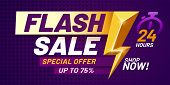 Flash Sale Poster. Lightning Offer Sales, Special Night Deal And Flashes Offers Discount Dark Billbo poster