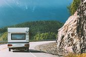Camper Road Trip In Norway Rv Trailer Summer Vacations Traveling Family Journey Van Life Weekend Car poster