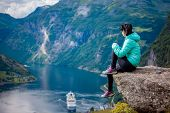 Geiranger Fjord Beautiful Nature Norway, a UNESCO World Heritage Site. The fjord is one of Norways  poster