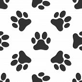 Grey Paw Print Icon Isolated Seamless Pattern On White Background. Dog Or Cat Paw Print. Animal Trac poster