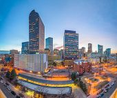 Denver, Colorado, USA downtown cityscape at twilight. poster