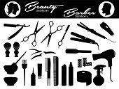 Beauty Salon And  Barber Salon. Set Hairdressing Related Symbols. Hairdressing Equipment And Accesso poster