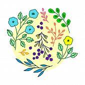 Graphical Flower Illustration. Black Flower, Contour Flower, Bloom Flower, Decorative Flower, Isolat poster