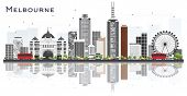 Melbourne Australia City Skyline with Gray Buildings and Reflections Isolated on White Background. T poster