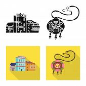 Vector Illustration Of Culture And Sightseeing Logo. Collection Of Culture And Originality Vector Ic poster