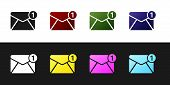 Set Envelope Icon Isolated On Black And White Background. Received Message Concept. New, Email Incom poster